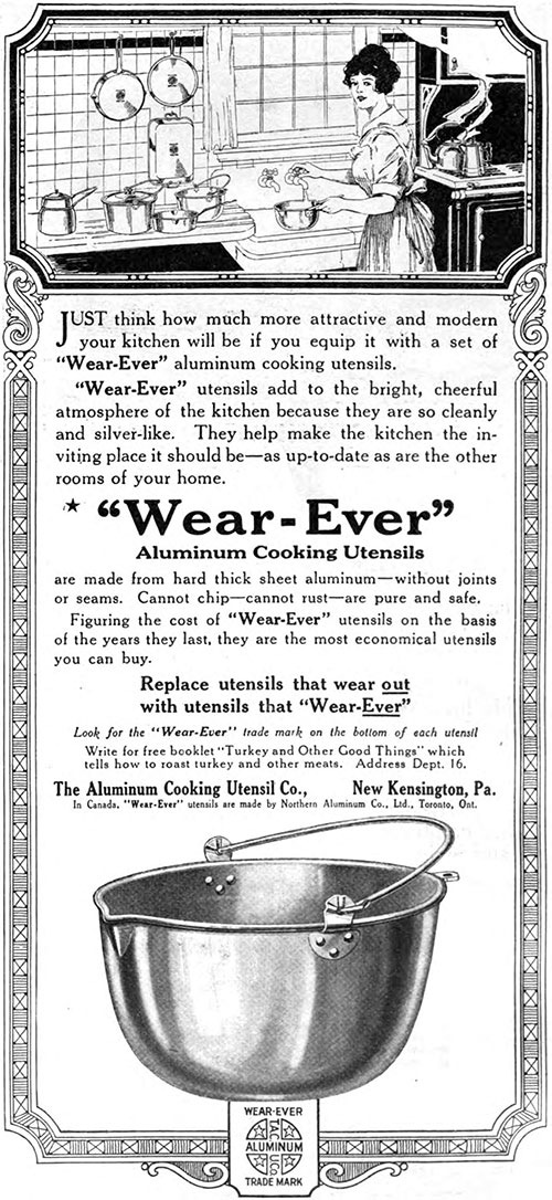 """Wear-Ever"" Aluminum Cooking Utensils - Attractive and Modern © 1920"