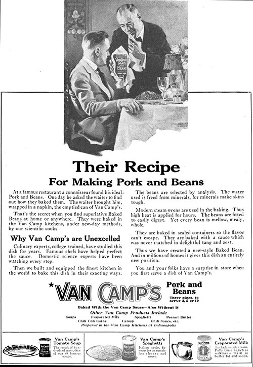 Van Camp's - Their Recipe for Making Pork and Beans © 1920