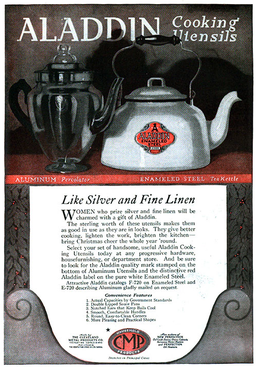 Aladdin Cooking Utensils Like Silver and Fine Linen © 1920 The Cleveland Metal Products Co.