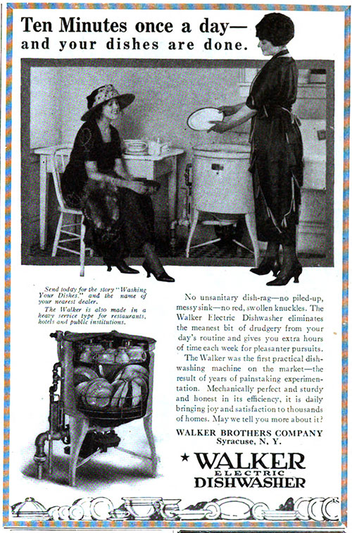 Walker Electric Dishwasher - Ten Minutes, Once A Day © 1921