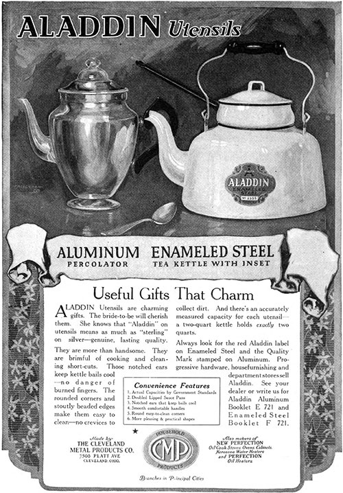 Aladdin Utensils Useful Gifts That Charm © 1921 The Cleveland Metal Products Co.