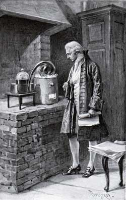Lavoisier in his laboratory