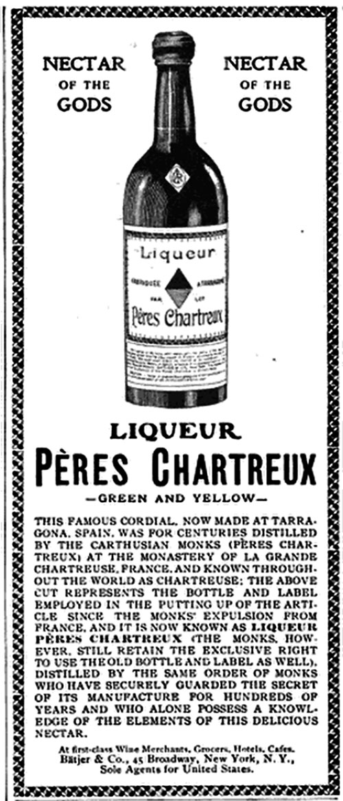 Pères Chartreux Green and Yellow Liqueur © 1905