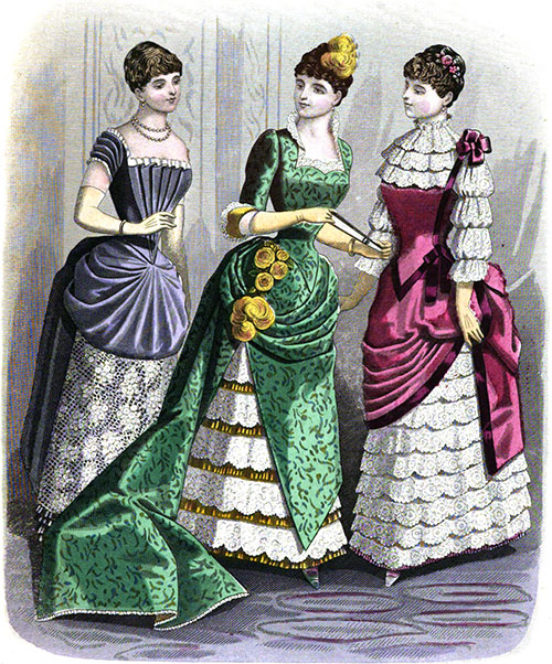 Plate 2: Dinner Dress, Dinner Costume and Young Lady's Dinner Dress