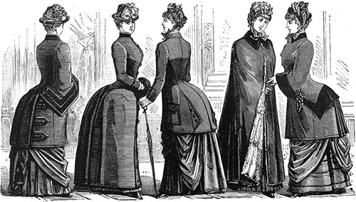 Plate 6: Visiting Costume of Woolen Ottoman, Long Coat, Close-Fitting Paletot, Rotonde, Visiting Costume