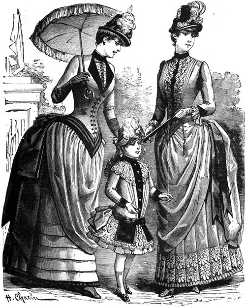 Plate 7: Morning Promenade Costumes and Child's Dress