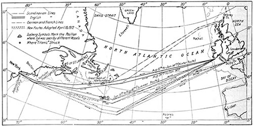Chart of the North Atlantic, Showing the New Summer Routes for Steamers
