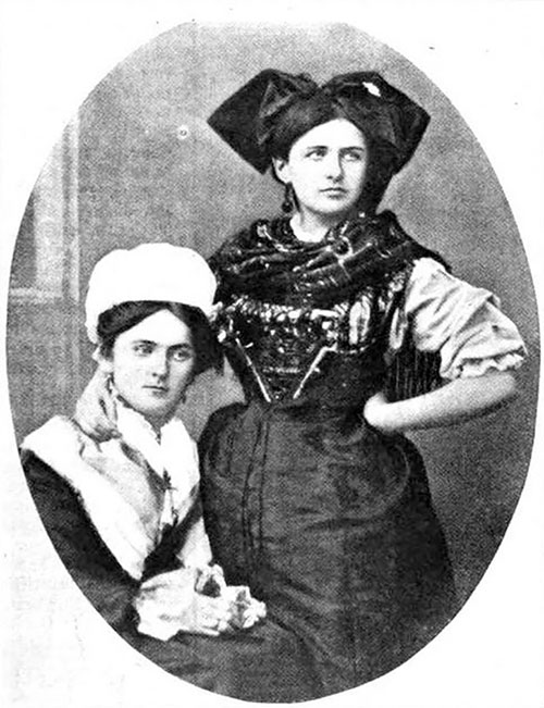 Peasant Girls Of Lorraine (seated) And Of Alsace (standing) In The Traditional Costumes Of Their Provinces