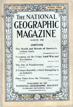 Front Cover, National Geographic Magazine, March 1918