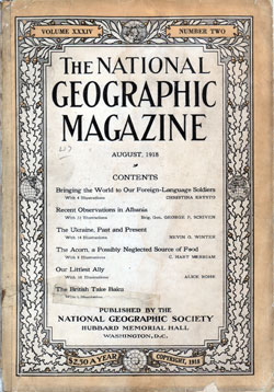 Front Cover, National Geographic, August 1918