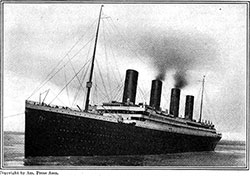 The Titanic as She Left Southampton, Starting on Her First and Last Voyage.