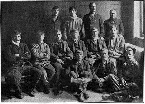 Surviving Firemen from the RMS Titanic. The 29 boilers and 159 furnaces demanded a force of about 180 men; 13 of the survivors are shown in the accompanying engraving.