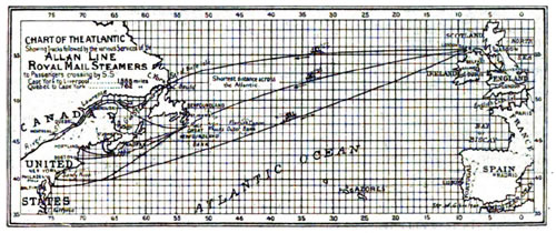 Chart Map - Allan Line - North Atlantic