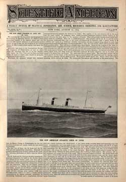 Scientific American, August 11, 1894 Frontice Piece on the American Line Steamships