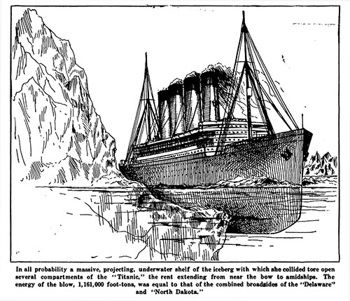 Illustration of the Damage Done to the Titanic Caused by an Iceberg