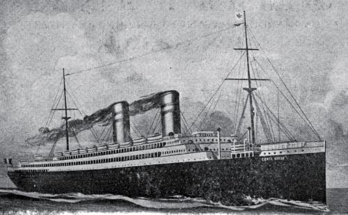 "THE NEW PALATIAL STEAMSHIP ""CONTE ROSSO,"" 21,000 TONS DISPLACEMENT, NAMED AFTER THE ""RED COUNT"" OF LEGENDARY FAME"