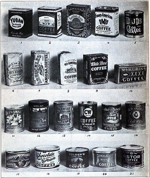 Well Known American Package Coffees - 1922