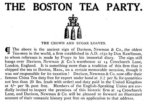 Source of Boston Party's Tea - 1922