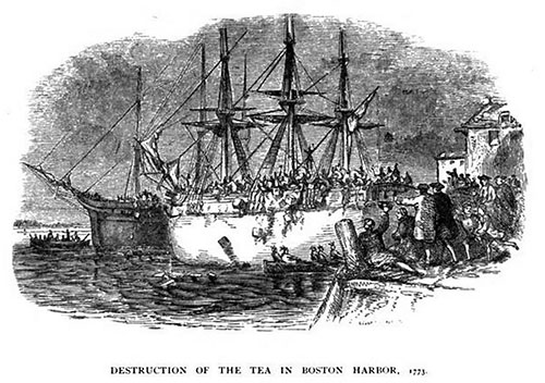 Destruction of Tea in Boston Harbor, 1773