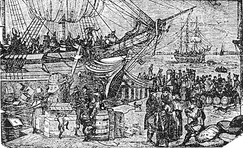 Scene at Boston Harbor - Destruction of Tea in 1773