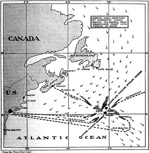 Map Showing Where The RMS Titanic Sank on 15 April 1912