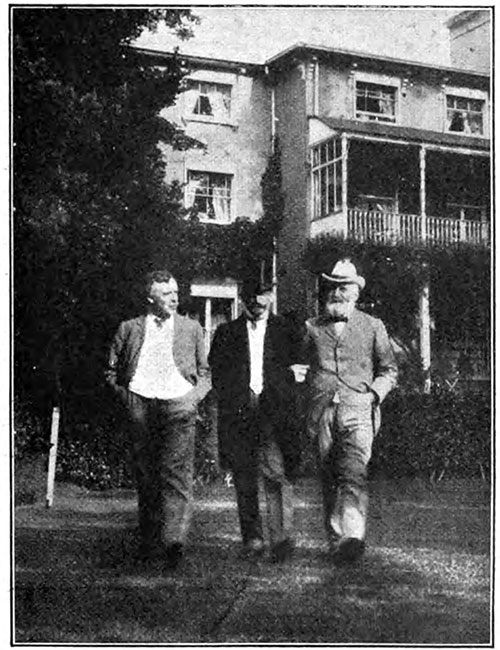 A Garden Party at Cambridge House, Wimbledon. Mr. Stead in Argument with Herbert Burrows and Another Guest