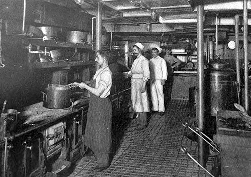 View of the Ship's Galley Where They Cook Vegetables