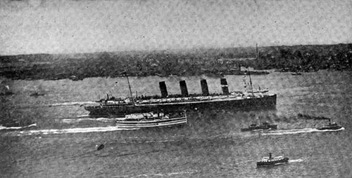 The Lusitania Passing Hoboken on her Maiden Voyage