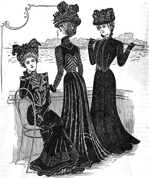 Fashionable Mourning Costumes 1, 2, and 3.