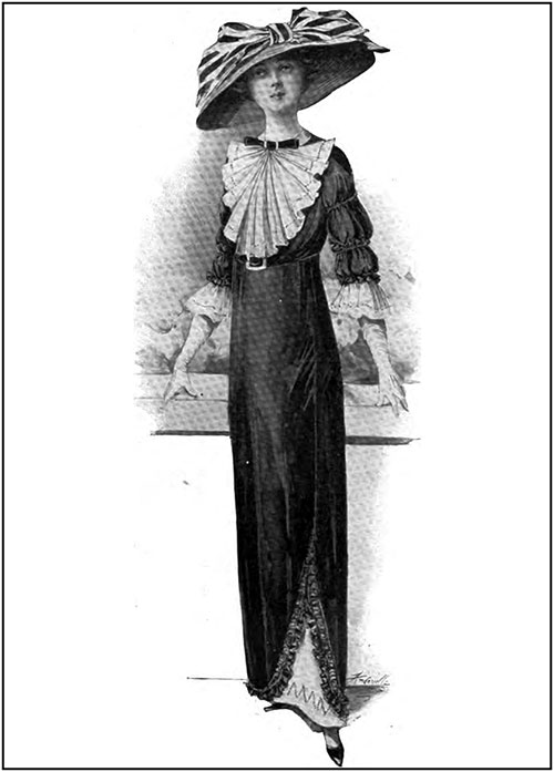 A Dainty Frock of Black Taffetas Is Finished with a Fine White Lawn Jabot and Frills on the Sleeves, and a Velvet Bow and Buckle at the Neck.