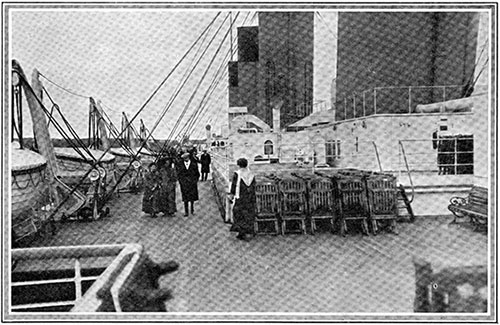 Passengers on the Boat-Deck of the Titanic in Cork Harbor.