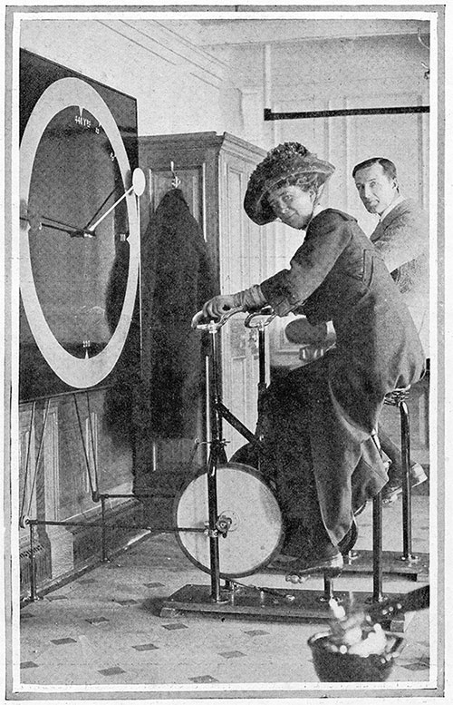 Keeping Fit Aboard the Floating Palace: Cycling in the Liner's Gymnasium.