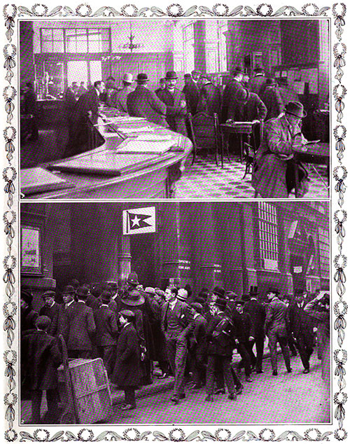 Crowds outside and inside of the White Star Line Offices Crave Any News about the Fate of Passengers.