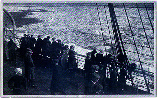 In the Neighborhood of the Titanic's Collision with an Iceberg: Passengers on a Steamer Looking at an Ice Field