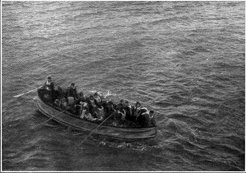 Survivors Aboard a Collapsible from the Titanic, the Boat Being Rowed Slowly Towards the Carpathia, Immediately before the Rescue of the Passengers.