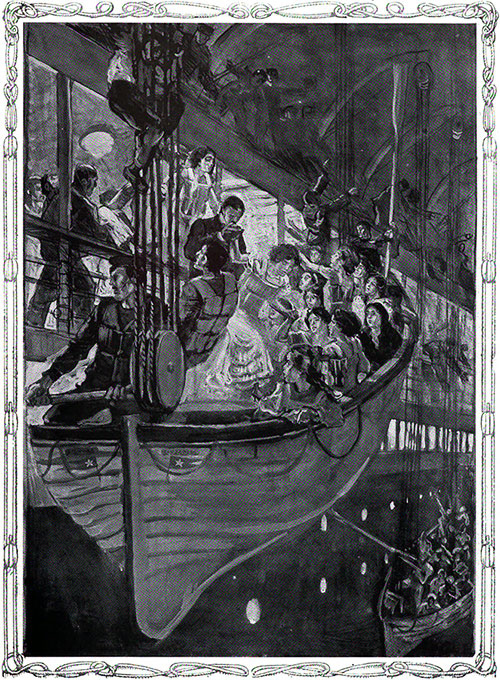 Women Entering a Life-Boat from B Deck of the Titanic.