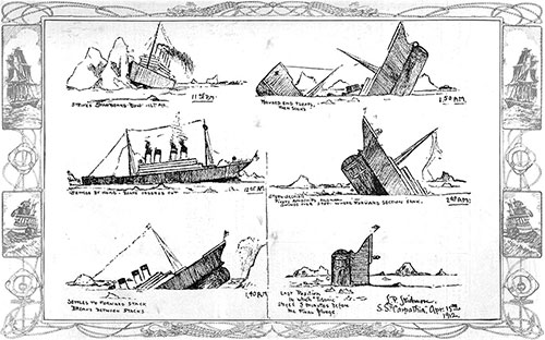 Sketches of the Stages of the Sinking of the Titanic Made by Mr. John B. Thayer, Jr.