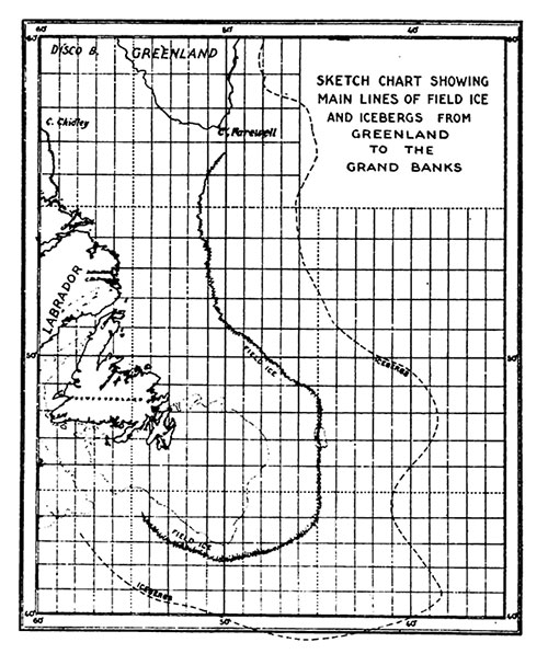 Sketch Chart Showing Main Lines of Field Ice and Icebergs from Greenland to the Grand Banks.