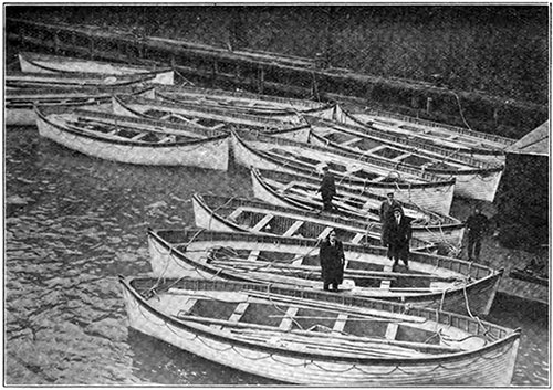 The Titanic's Lifeboats Tied up at the New York Pier After Carpathia's Return