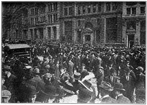 Crowds of the Stricken and Curious Gather by the White Star Line Office on Broadway in New York.
