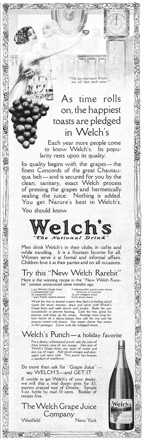 Welch's Grape Juice - As Time Rolls On © 1914 The Welch Grape Juice Company