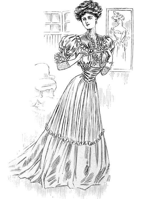 Figure 2: Afternoon Gown in Grey Silky Crepon