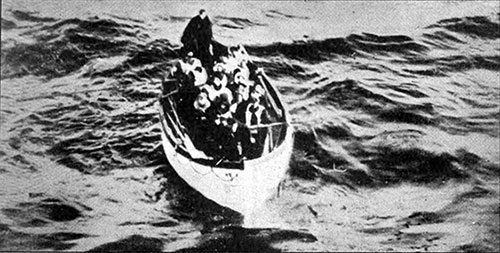 One of the Titanic's Life-Boats Approaching the Carpathia, Barely Half Full.