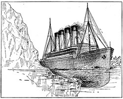 In all probability, according to The Scientific American, a massive, projecting, underwater shelf of the iceberg with which she collided tore open several compartments of the Titanic,