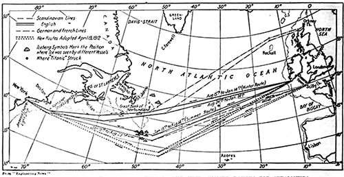 Chart of the North Atlantic Showing the New Summer Routes for Steamships.