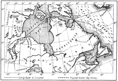 A Route That Will Defy The Icebergs. The Proposed Hudson Bay Route to Europe. Dotted with Bcrgs and Shrouded in Fog.