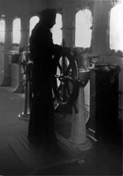 Sailor on the Vaterland at the Wheel showing the Gyro Compass
