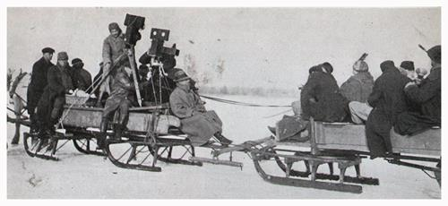 "Filming The Sleigh-Ride Scene in ""Way Down East"""