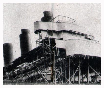The Lusitania realistically copied in lath and plaster