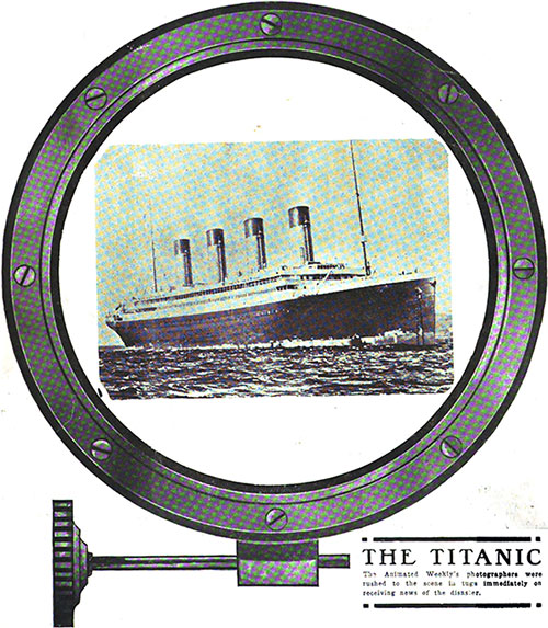 Coverage of the Titanic Illustration from the Cover of the Moving Picture News.
